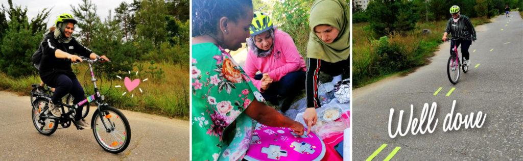 Ehemalige Radfahrkurs Teilnehmerinnen helfen anderen beim Lernen.